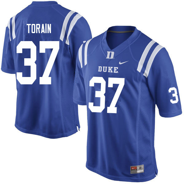 Men #37 Ken Torain Duke Blue Devils College Football Jerseys Sale-Blue