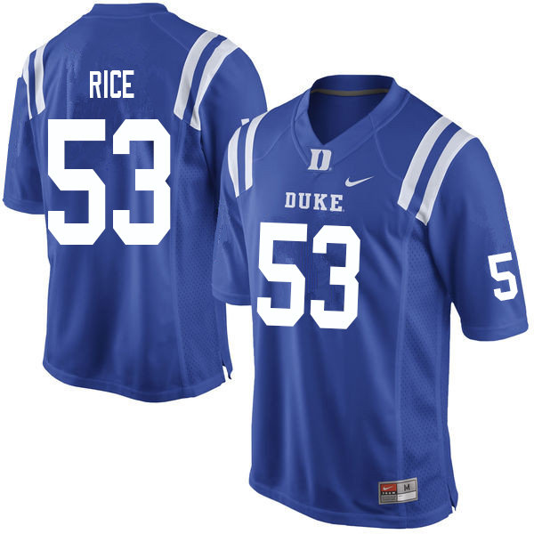 Men #53 Tahj Rice Duke Blue Devils College Football Jerseys Sale-Blue