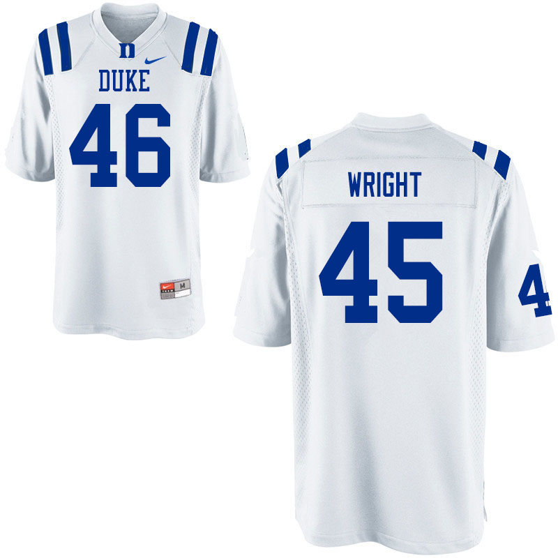 Men #46 Aaron Wright Duke Blue Devils College Football Jerseys Sale-White