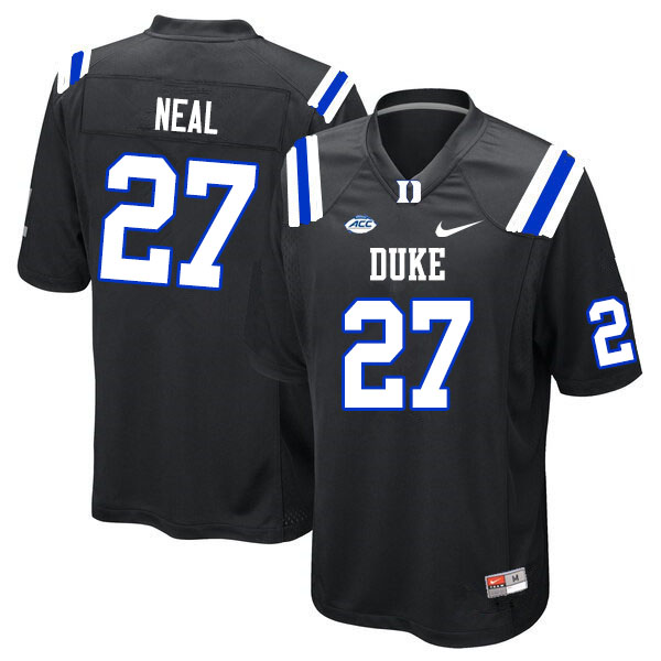 Men #27 Damani Neal Duke Blue Devils College Football Jerseys Sale-Black