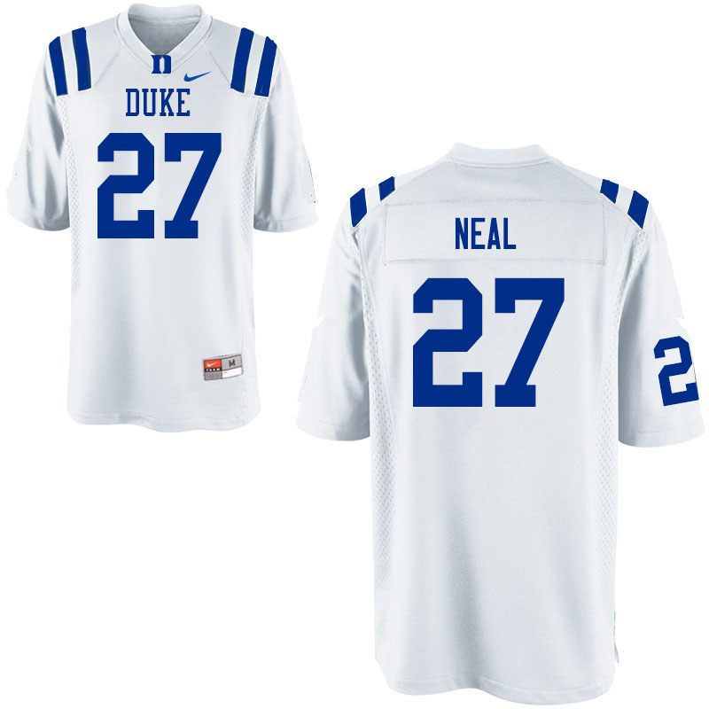Men #27 Damani Neal Duke Blue Devils College Football Jerseys Sale-White