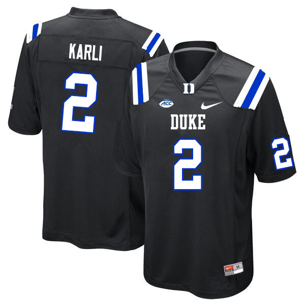 Men #2 Daniel Karlin Duke Blue Devils College Football Jerseys Sale-Black