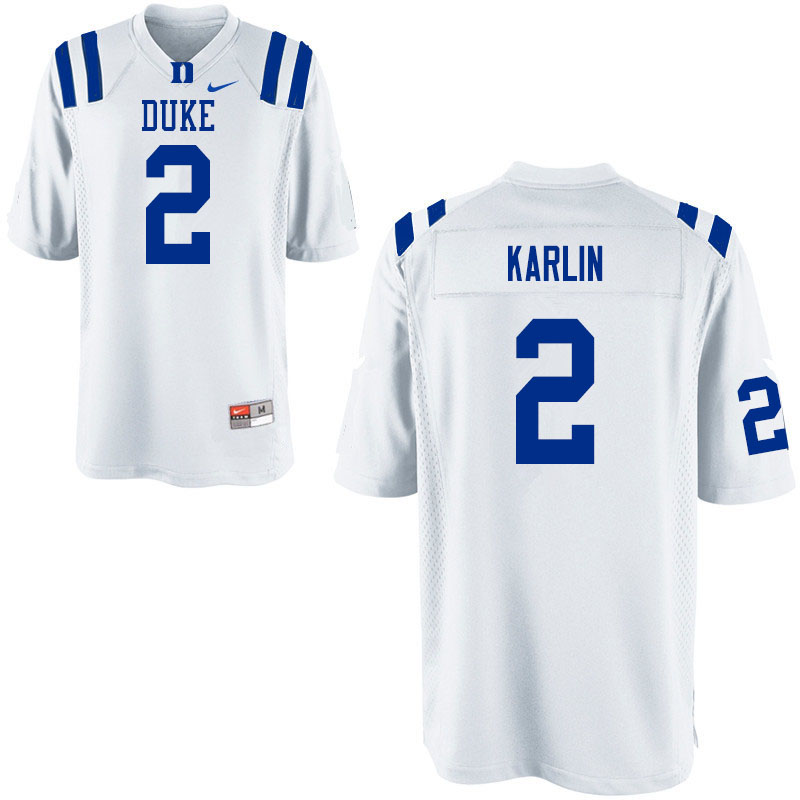 Men #2 Daniel Karlin Duke Blue Devils College Football Jerseys Sale-White