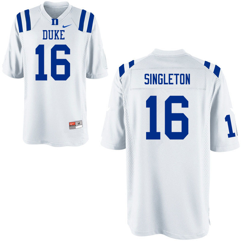 Men #16 Dylan Singleton Duke Blue Devils College Football Jerseys Sale-White