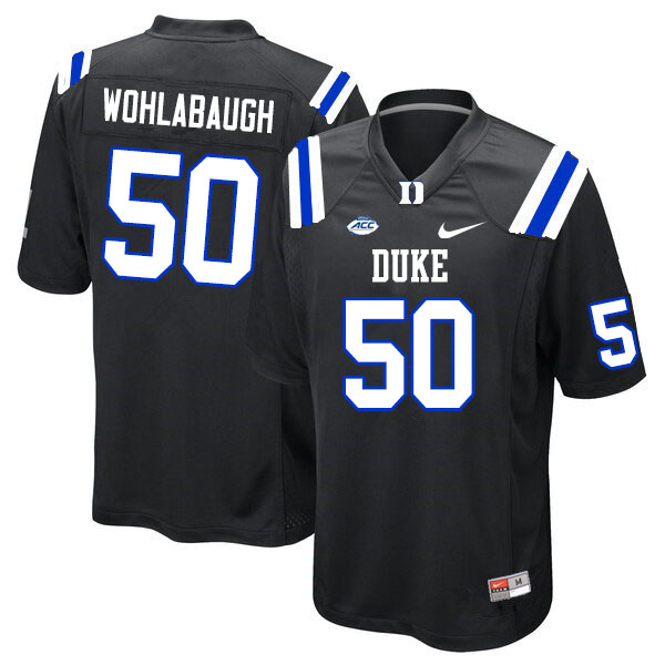 Men #50 Jack Wohlabaugh Duke Blue Devils College Football Jerseys Sale-Black