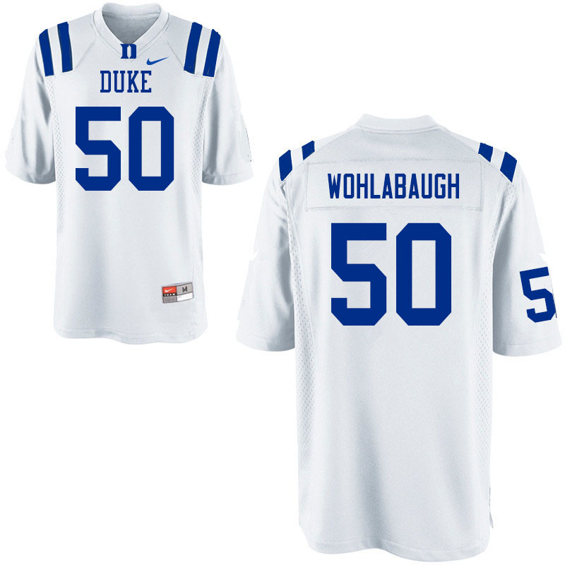 Men #50 Jack Wohlabaugh Duke Blue Devils College Football Jerseys Sale-White