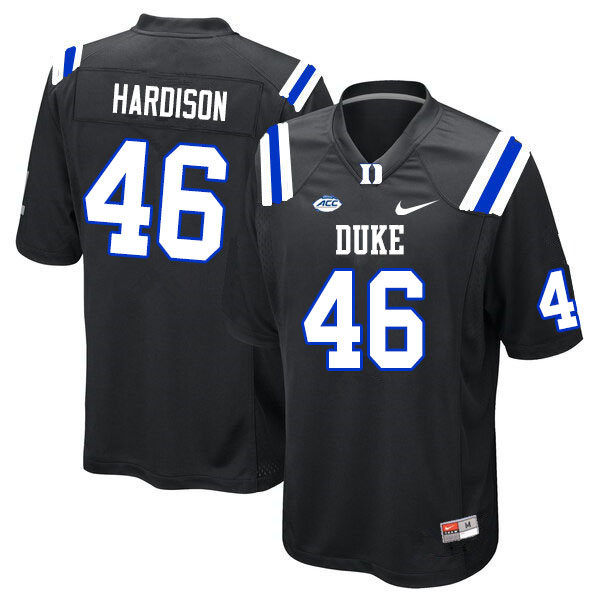 Men #46 Joe Hardison Duke Blue Devils College Football Jerseys Sale-Black