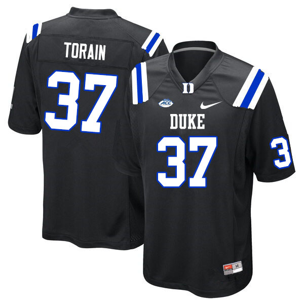 Men #37 Ken Torain Duke Blue Devils College Football Jerseys Sale-Black