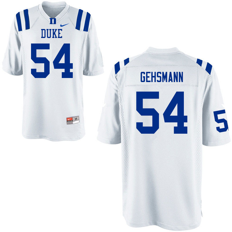 Men #54 Kevin Gehsmann Duke Blue Devils College Football Jerseys Sale-White