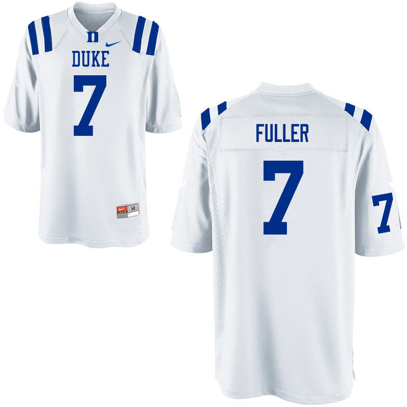 Men #7 Keyston Fuller Duke Blue Devils College Football Jerseys Sale-White