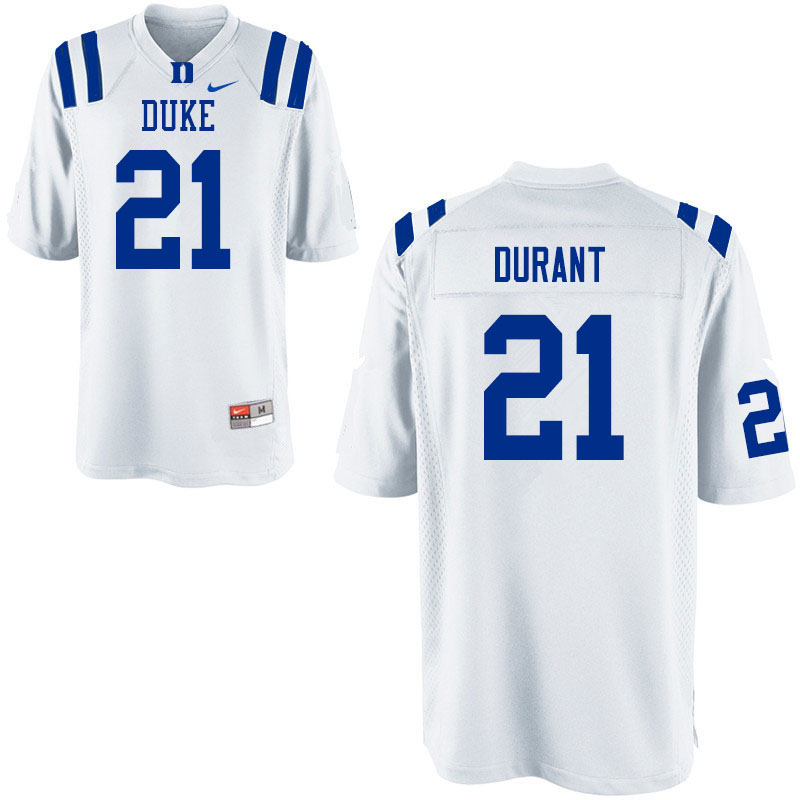 Men #21 Mataeo Durant Duke Blue Devils College Football Jerseys Sale-White