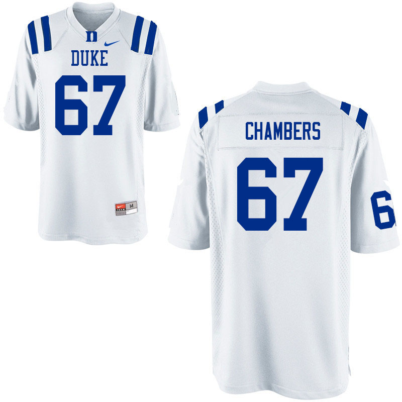 Men #67 Rakavius Chambers Duke Blue Devils College Football Jerseys Sale-White