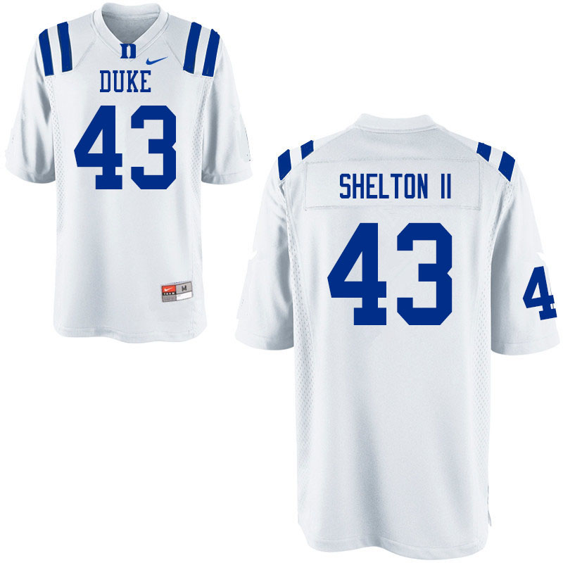Men #43 Rocky Shelton II Duke Blue Devils College Football Jerseys Sale-White