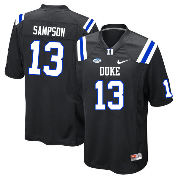 Men #13 Sayvon Sampson Duke Blue Devils College Football Jerseys Sale-Black