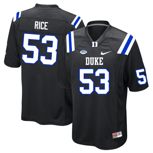 Men #53 Tahj Rice Duke Blue Devils College Football Jerseys Sale-Black