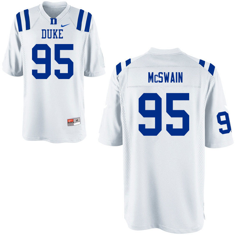 Men #95 Trevon McSwain Duke Blue Devils College Football Jerseys Sale-White