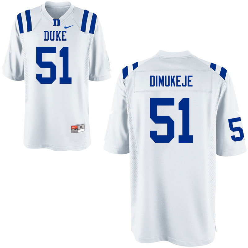 Men #51 Victor Dimukeje Duke Blue Devils College Football Jerseys Sale-White