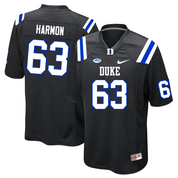 Men #63 Zach Harmon Duke Blue Devils College Football Jerseys Sale-Black