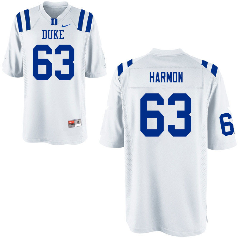 Men #63 Zach Harmon Duke Blue Devils College Football Jerseys Sale-White