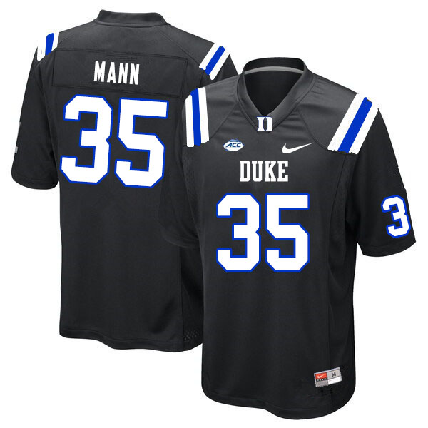 Men #35 Steve Mann Duke Blue Devils College Football Jerseys Sale-Black