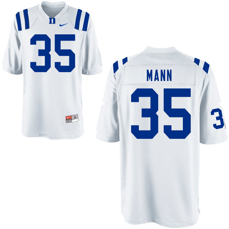 Men #35 Steve Mann Duke Blue Devils College Football Jerseys Sale-White