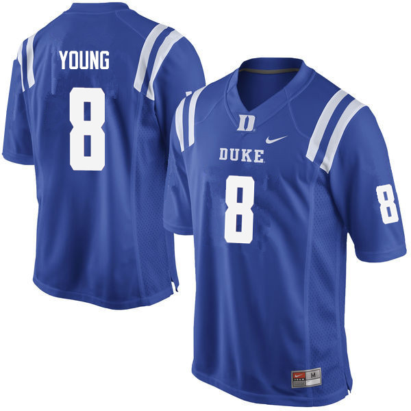 Men #8 Aaron Young Duke Blue Devils College Football Jerseys Sale-Blue