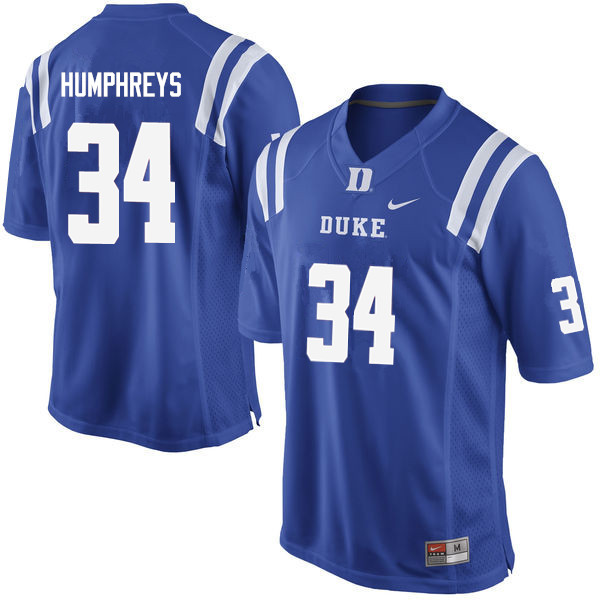 Men #34 Ben Humphreys Duke Blue Devils College Football Jerseys Sale-Blue
