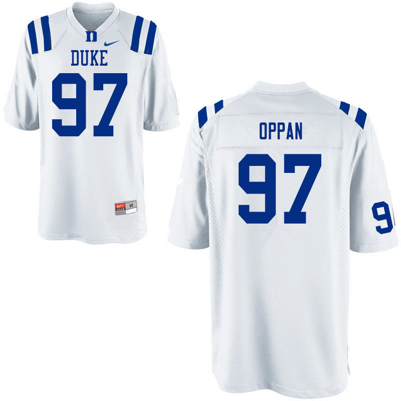 Men #97 Caleb Oppan Duke White Devils College Football Jerseys Sale-White