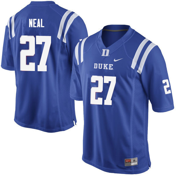 Men #27 Damani Neal Duke Blue Devils College Football Jerseys Sale-Blue