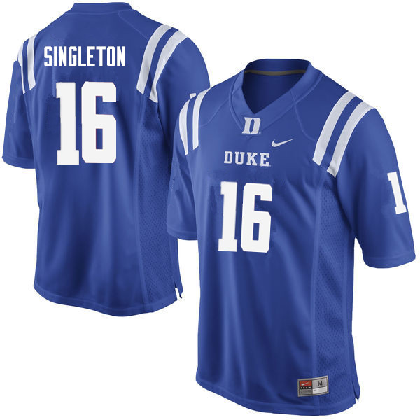 Men #16 Dylan Singleton Duke Blue Devils College Football Jerseys Sale-Blue