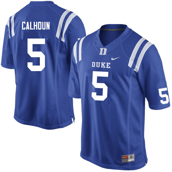 Men #5 Jalon Calhoun Duke Blue Devils College Football Jerseys Sale-Blue