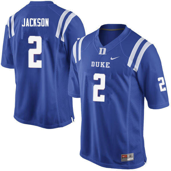 Men #2 Javon Jackson Duke Blue Devils College Football Jerseys Sale-Blue