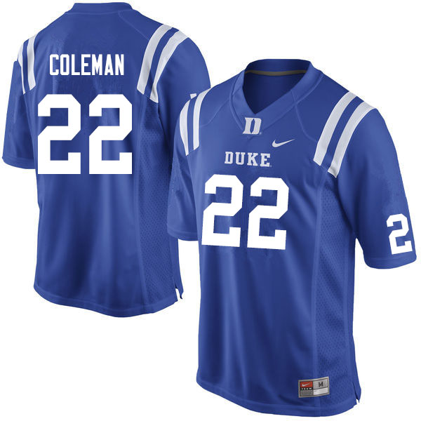 Men #22 Jaylen Coleman Duke Blue Devils College Football Jerseys Sale-Blue