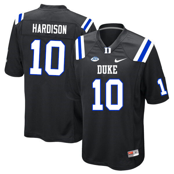 Men #10 Joe Hardison Duke Blue Devils College Football Jerseys Sale-Black
