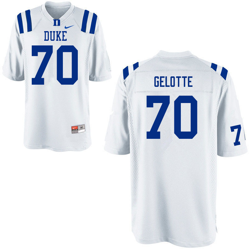 Men #70 John Gelotte Duke White Devils College Football Jerseys Sale-White
