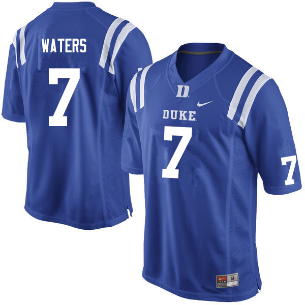 Men #7 Jordan Waters Duke Blue Devils College Football Jerseys Sale-Blue
