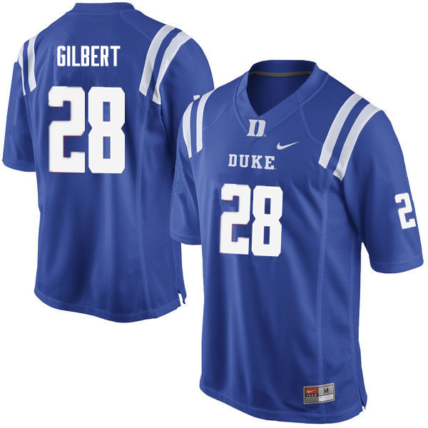 Men #28 Mark Gilbert Duke Blue Devils College Football Jerseys Sale-Blue