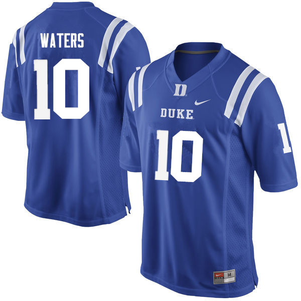 Men #10 Marquis Waters Duke Blue Devils College Football Jerseys Sale-Blue