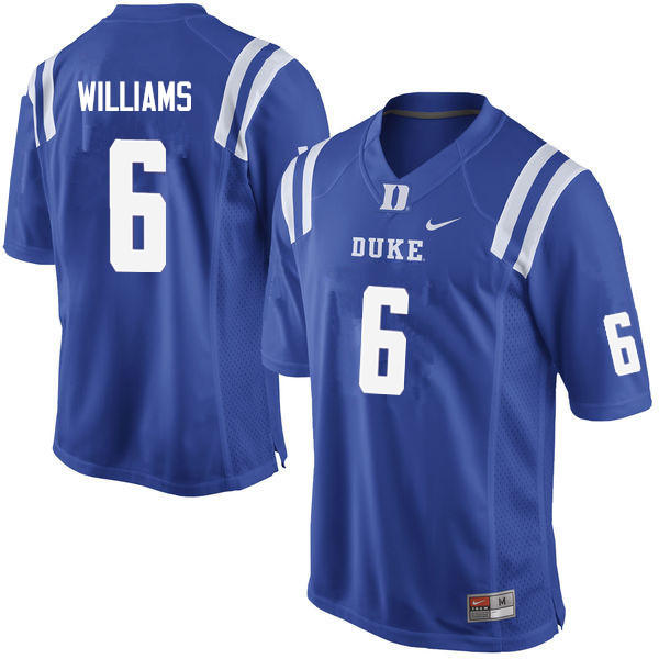 Men #6 Mason Williams Duke Blue Devils College Football Jerseys Sale-Blue