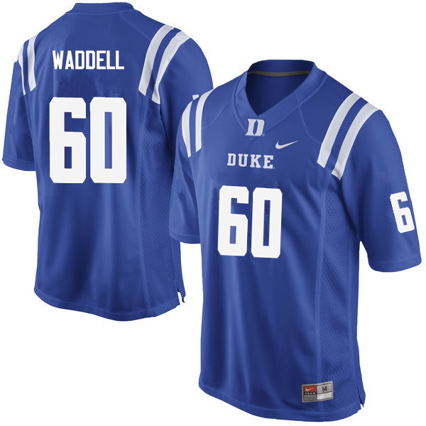 Men #60 Noah Waddell Duke Blue Devils College Football Jerseys Sale-Blue