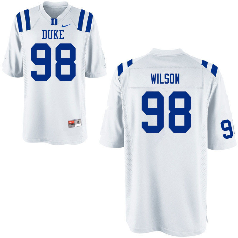 Men #98 Porter Wilson Duke White Devils College Football Jerseys Sale-White
