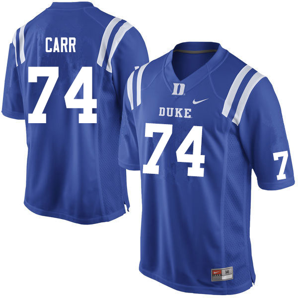 Men #74 Ron Carr Duke Blue Devils College Football Jerseys Sale-Blue