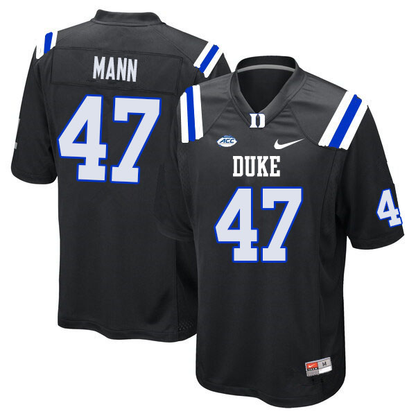 Men #47 Steve Mann Duke Blue Devils College Football Jerseys Sale-Black