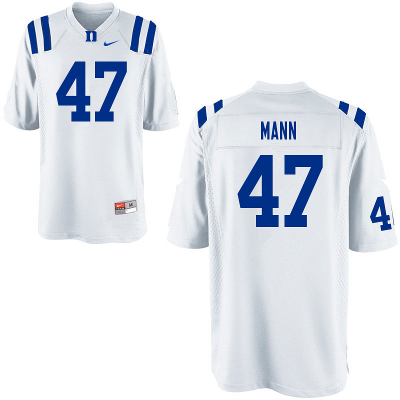 Men #47 Steve Mann Duke Blue Devils College Football Jerseys Sale-White