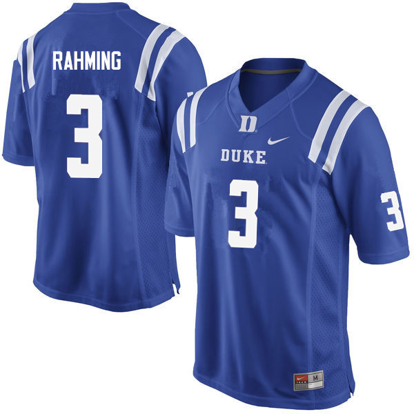 Men #3 T.J. Rahming Duke Blue Devils College Football Jerseys Sale-Blue