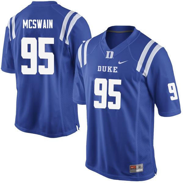 Men #95 Trevon McSwain Duke Blue Devils College Football Jerseys Sale-Blue