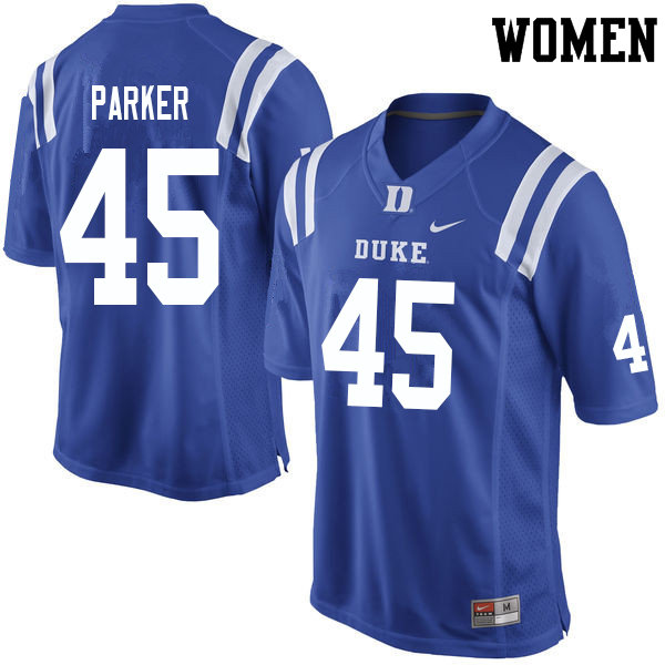 Women #45 Austin Parker Duke Blue Devils College Football Jerseys Sale-Blue