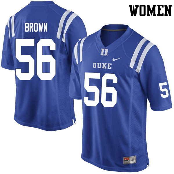 Women #56 Elijiah Brown Duke Blue Devils College Football Jerseys Sale-Blue