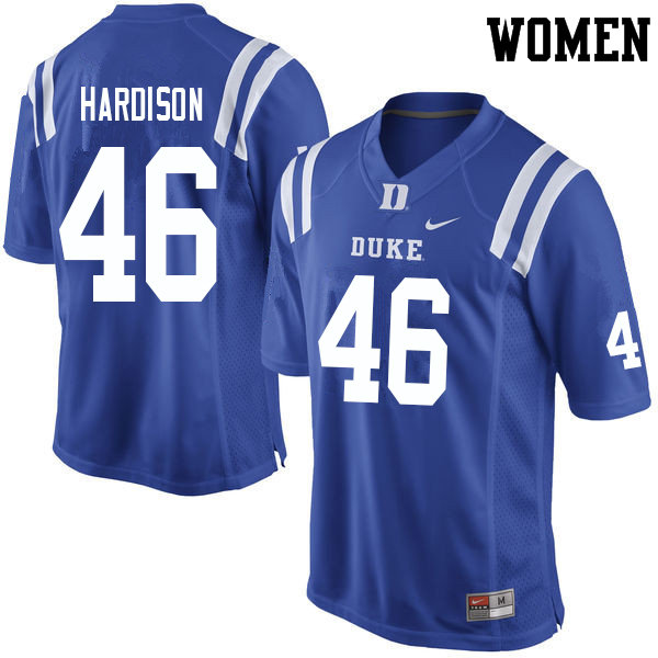 Women #46 Joe Hardison Duke Blue Devils College Football Jerseys Sale-Blue