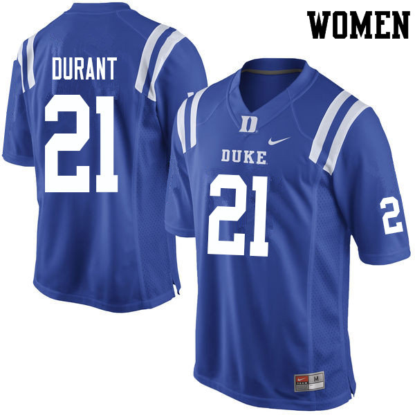 Women #21 Mataeo Durant Duke Blue Devils College Football Jerseys Sale-Blue